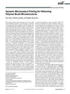 Dynamic Microcontact Printing for Patterning ... - TU Dresden