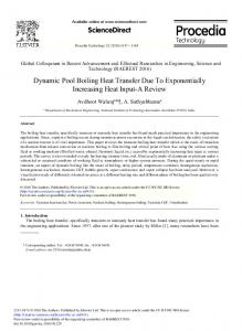 Dynamic Pool Boiling Heat Transfer Due to Exponentially ... - Core