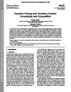 Dynamic Pricing and Inventory Control: Uncertainty ...