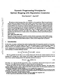 Dynamic Programming Principles for Optimal Stopping with ...