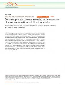 Dynamic protein coronas revealed as a modulator of silver ... - Nature