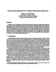 Dynamic Reconfiguration for Complex Multimedia ... - Semantic Scholar