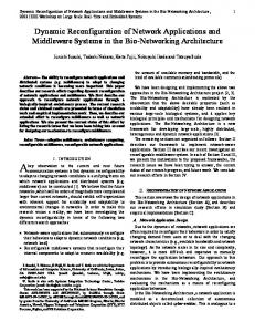 Dynamic Reconfiguration of Network Applications and ... - CiteSeerX