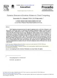Dynamic Resource Allocation Scheme in Cloud Computing - Core