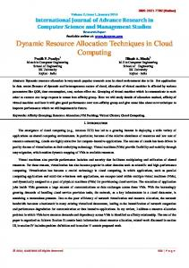 Dynamic Resource Allocation Techniques in Cloud ... - IJARCSMS