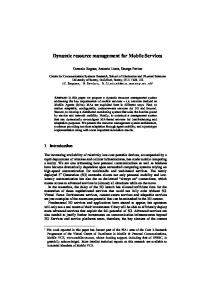 Dynamic resource management for Mobile Services - CiteSeerX