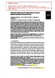 Dynamic Resource Provisioning for Cloud- Based Gaming ... - CiteSeerX