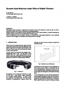 Dynamic Seals Behaviour under Effect of Radial ... - Project Chrono