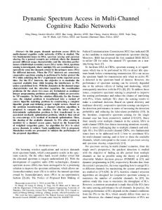 Dynamic Spectrum Access in Multi-Channel Cognitive Radio Networks