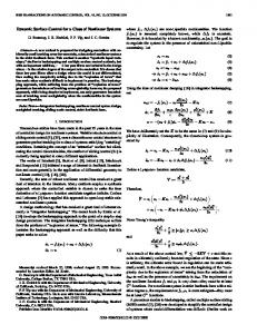 Dynamic surface control for a class of nonlinear ... - Semantic Scholar