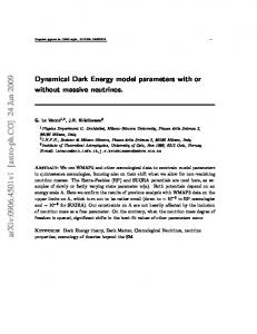 Dynamical Dark Energy model parameters with or without massive
