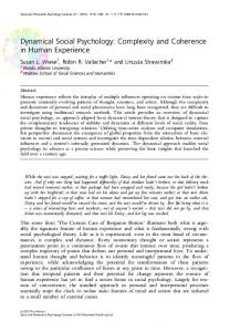 Dynamical Social Psychology: Complexity and Coherence ... - CiteSeerX