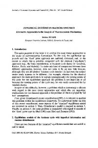 DYNAMICAL SYSTEMS IN MACROECONOMICS Alternative ...