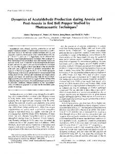 Dynamics of Acetaldehyde Production during Anoxia and Post-Anoxia ...