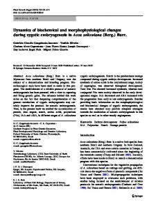 Dynamics of biochemical and morphophysiological changes during ...