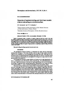 Dynamics of explosive boiling and third heat transfer ... - Springer Link