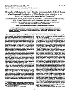 Dynamics of Helicobacter pylori-Specific Immunoglobulin G for 2 ...