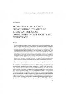 dynamics of immigrant religious communities in civil society and public ...