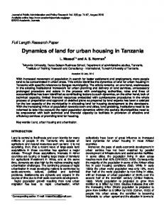 Dynamics of land for urban housing in Tanzania - Academic Journals