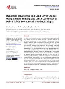 Dynamics of Land Use and Land Cover Change Using Remote ...