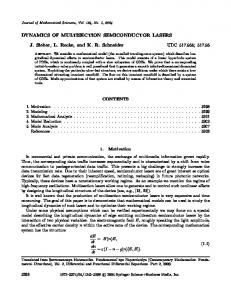 DYNAMICS OF MULTISECTION SEMICONDUCTOR LASERS J ...