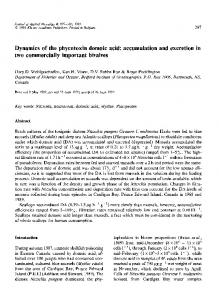 Dynamics of the phycotoxin domoic acid: accumulation ... - Springer Link