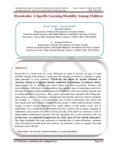 Dyscalculia - RS Publication