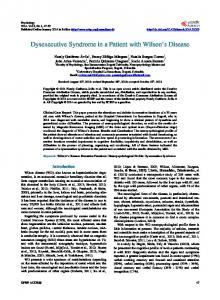 Dysexecutive Syndrome in a Patient with Wilson's Disease - Scientific ...