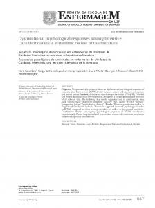 Dysfunctional psychological responses among Intensive Care ... - Ktisis