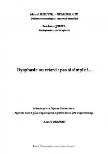 Dysphasie ou retard : pas si simple !... - Resodys