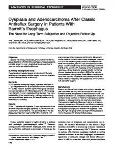 Dysplasia and Adenocarcinoma After Classic Antireflux ... - CiteSeerX