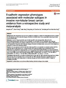 E-cadherin expression phenotypes associated with molecular ...