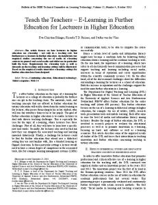 E-Learning in Further Education for Lecturers in Higher Education