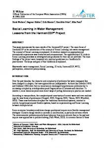 E-WAter Social Learning in Water Management - European Water ...