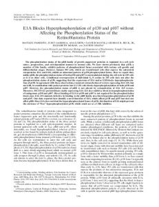 E1A Blocks Hyperphosphorylation of p130 and ... - Journal of Virology