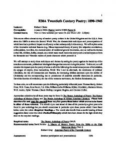 E30A Twentieth Century Poetry: 1890-1945 - richard lw clarke ...