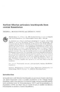 Earliest Silurian articulate brachiopods from central Kazakhstan - Acta ...