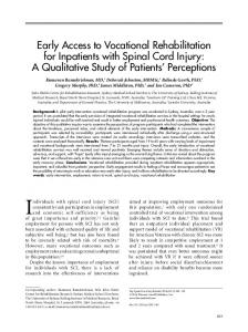 Early Access to Vocational Rehabilitation for Inpatients with Spinal ...