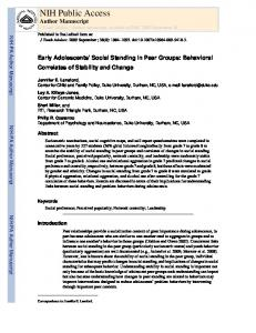 Early Adolescents' Social Standing in Peer Groups: Behavioral ...