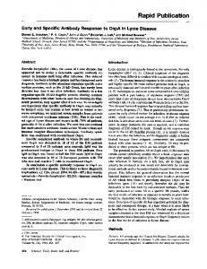 Early and specific antibody response to OspA in Lyme Disease.