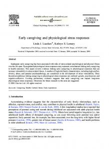Early caregiving and physiological stress responses - ASU