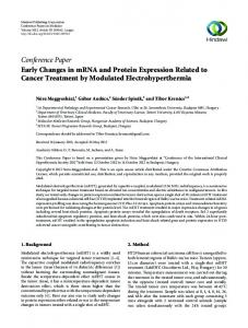 Early Changes in mRNA and Protein Expression Related to Cancer ...