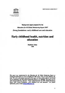 Early childhood health, nutrition and education - unesdoc, unesco