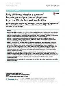 Early childhood obesity: a survey of knowledge and ... - BMC Pediatrics