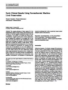 Early Clinical Results Using Normothermic Machine Liver Preservation