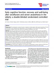 Early cognitive function, recovery and well-being after ... - BioMedSearch