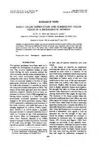 early color deprivation and subsequent color vision in a ... - Neitz Vision