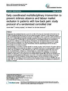 Early coordinated multidisciplinary intervention to