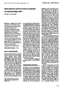 Early detection and intervention in psychosis: an ...