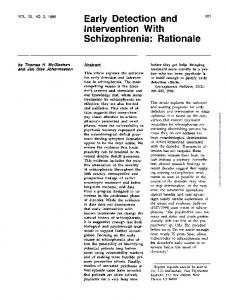 Early Detection and Intervention With Schizophrenia ...